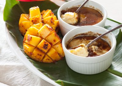 Lemongrass Brulee with Spicy Grilled Mangoes