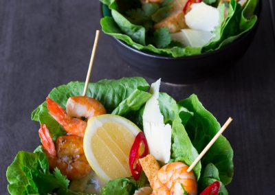 Ceasar Salad with Grilled Prawns
