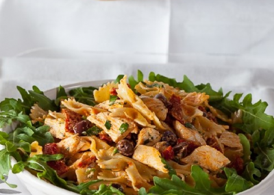 Chicken Pasta Salad with Roasted Capsicum Dressing