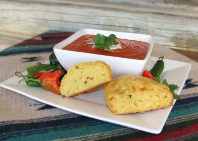 Spicy Red Capsicum Soup with Jalapeno Scones